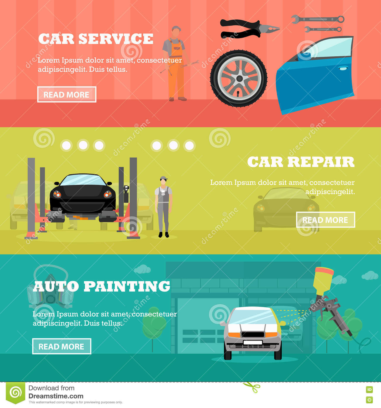 Car Repair Shop Concept Vector Banners. Auto Mechanic With