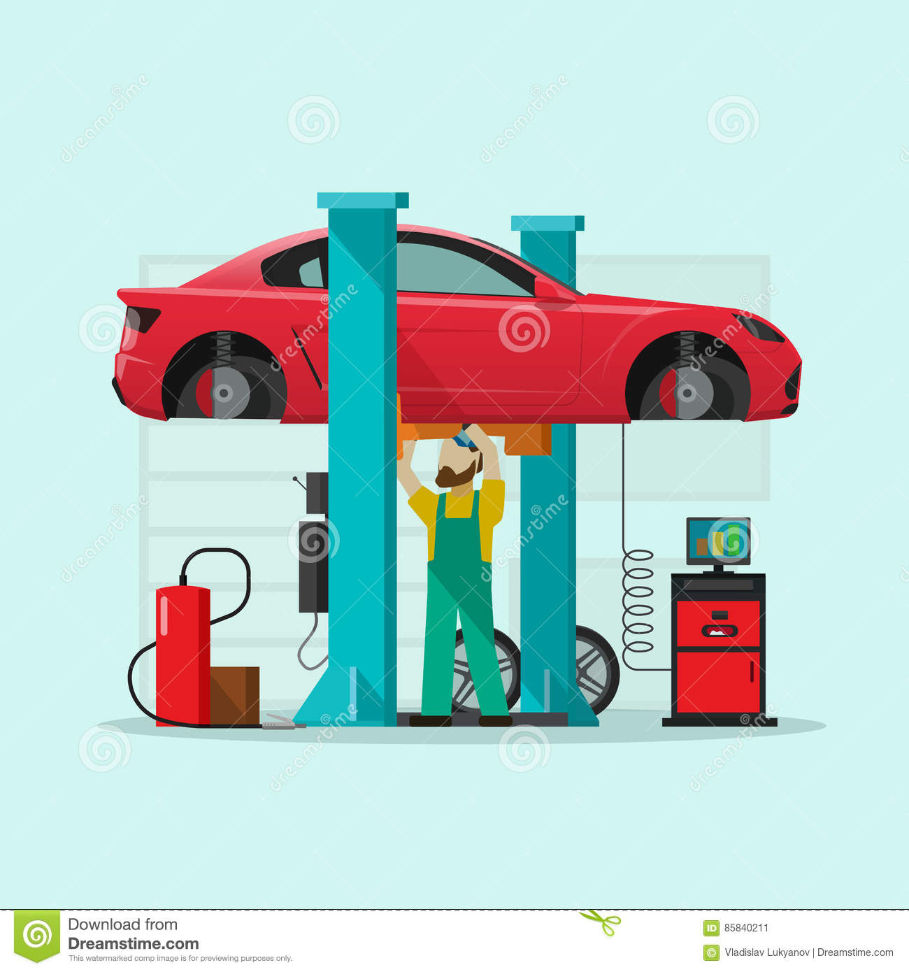 Garage automobile service a mechanic under bottom of car for Garage reparation auto