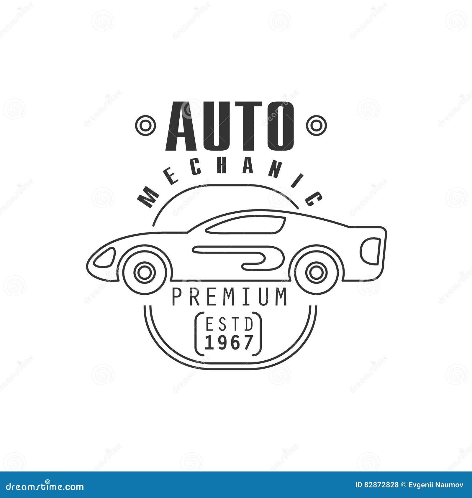 Design car repair workshop - Car Repair Workshop Black And White Label Design Template