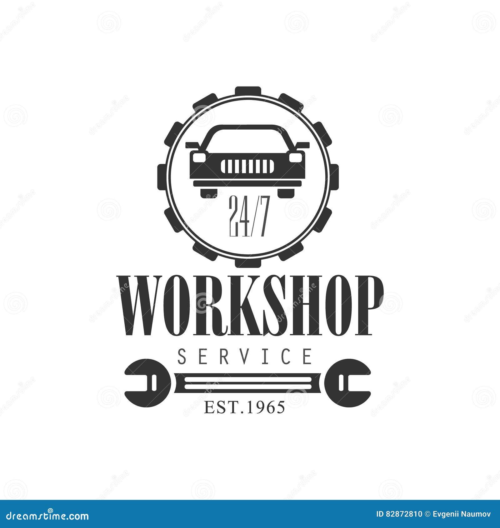 Design car repair workshop - Car Repair Workshop Service Black And White Label Design Template