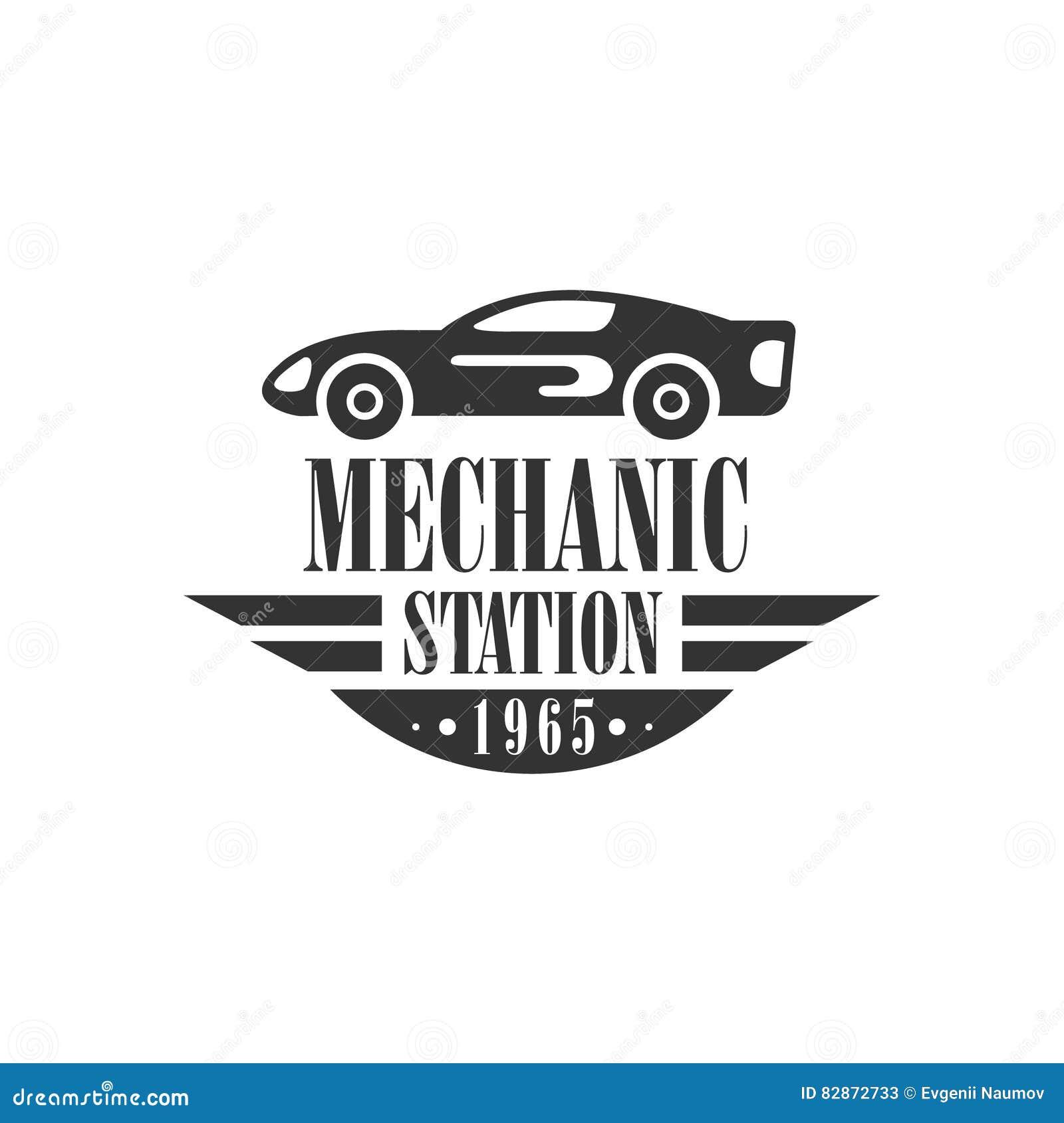Design car repair workshop - Car Repair Workshop Station Black And White Label Design Template