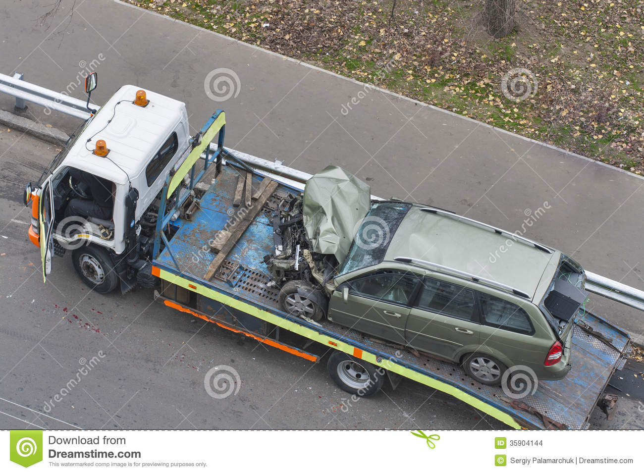 Car After Road Accident Shipped To Tow Truck Stock Photo - Image of ...