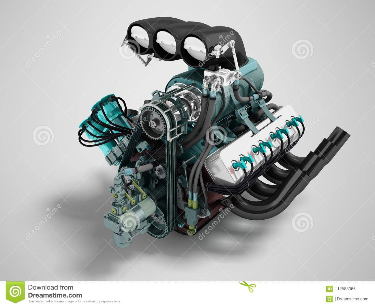 Car Turbo Engine Black Blue Front Perspective 3d Render On Gray
