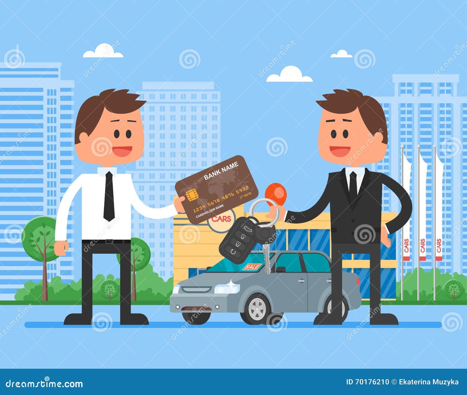 car sale vector illustration customer buying automobile from dealer concept salesman giving. Black Bedroom Furniture Sets. Home Design Ideas
