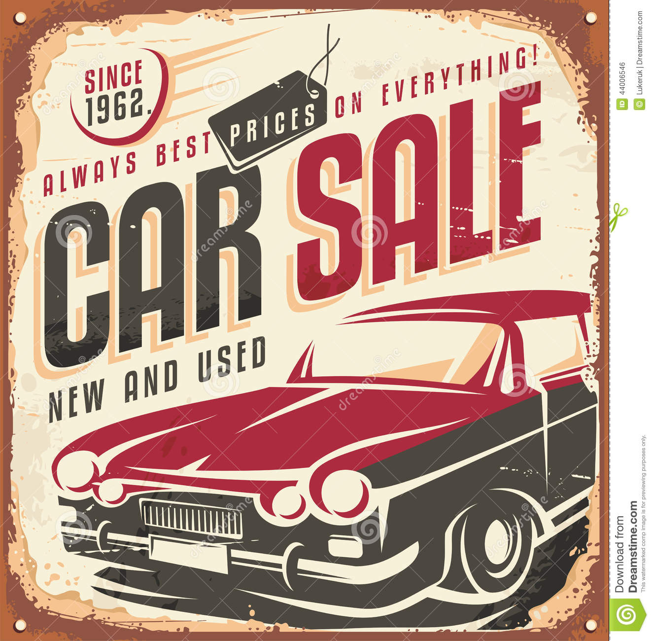 Car Sale Vintage Metal Sign Stock Vector Illustration Of