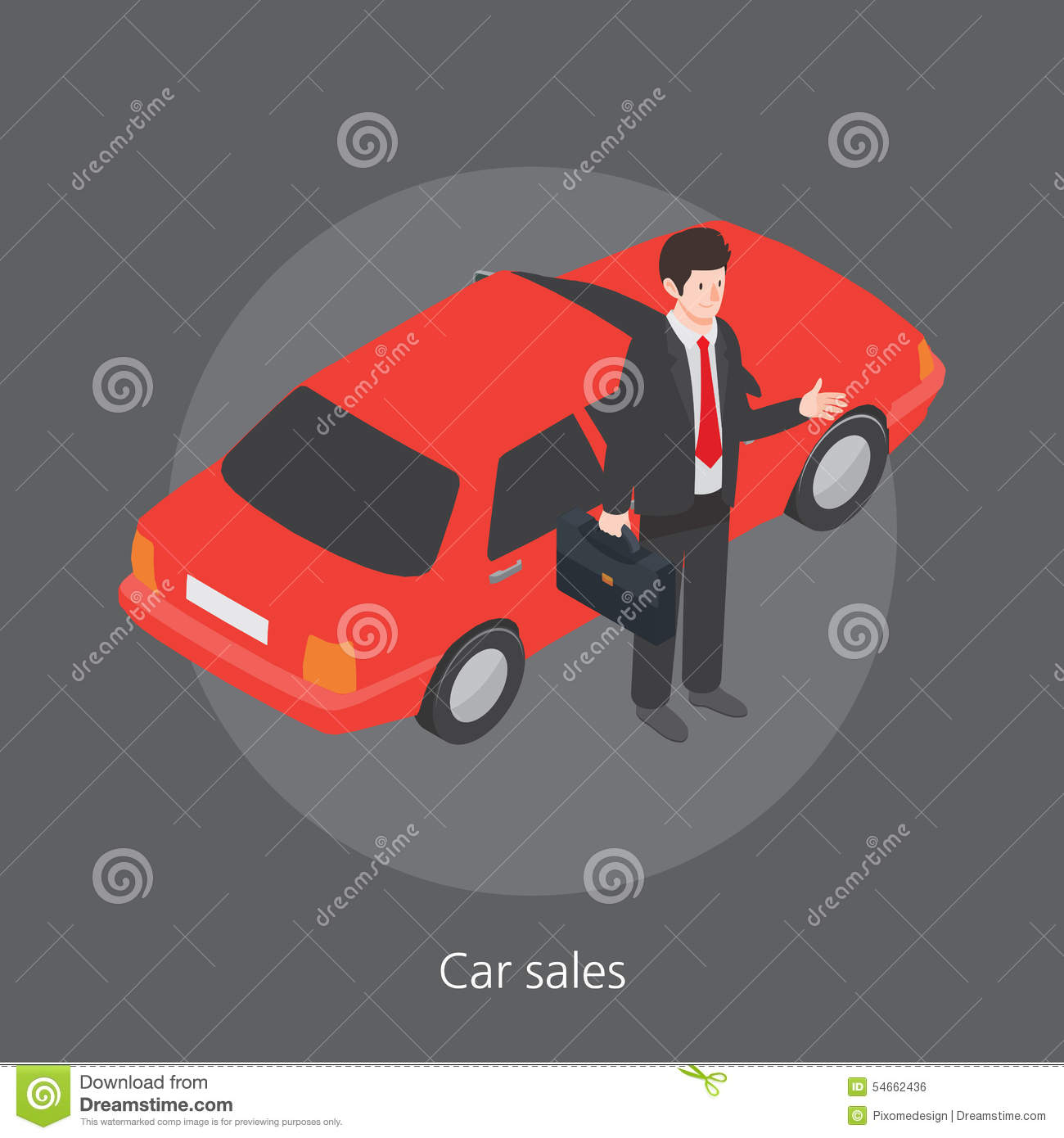 Car Sales Concept Design 3d Isometric Illustration Stock