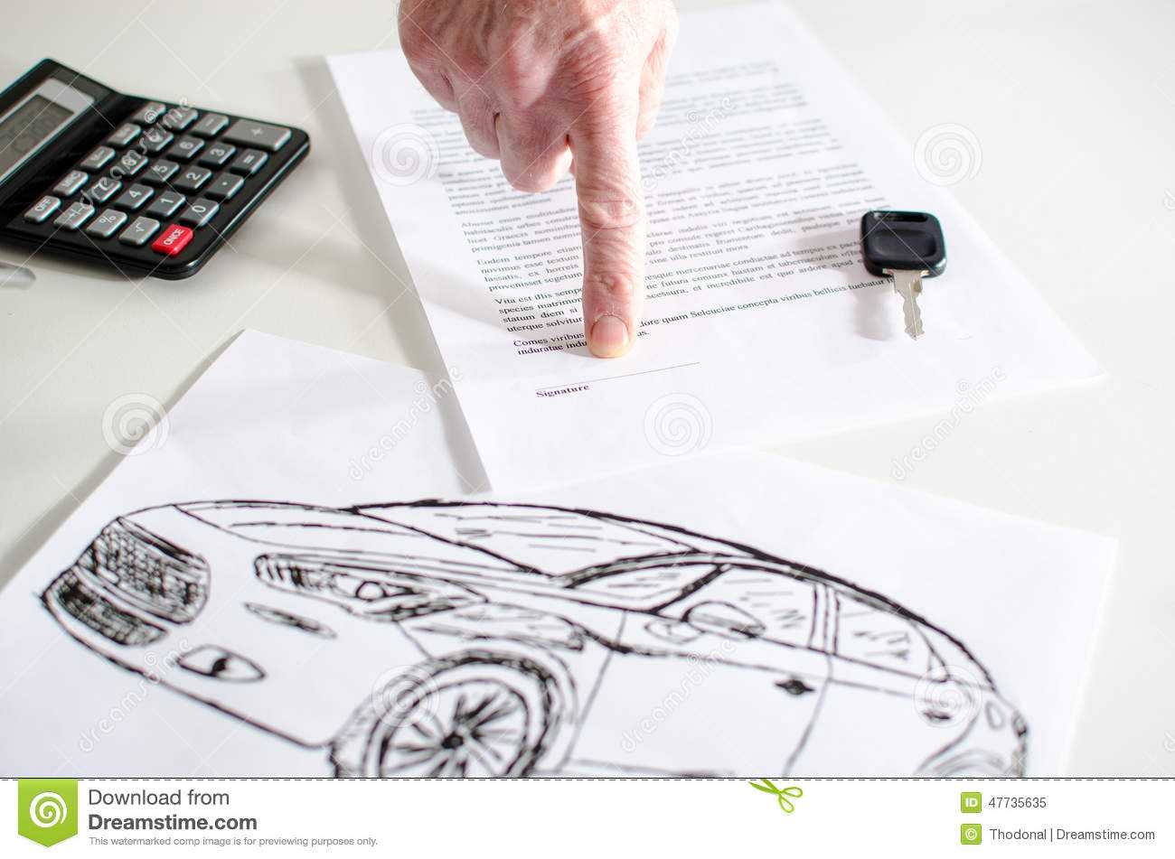 car sales contract stock image image of lease desk 47735635