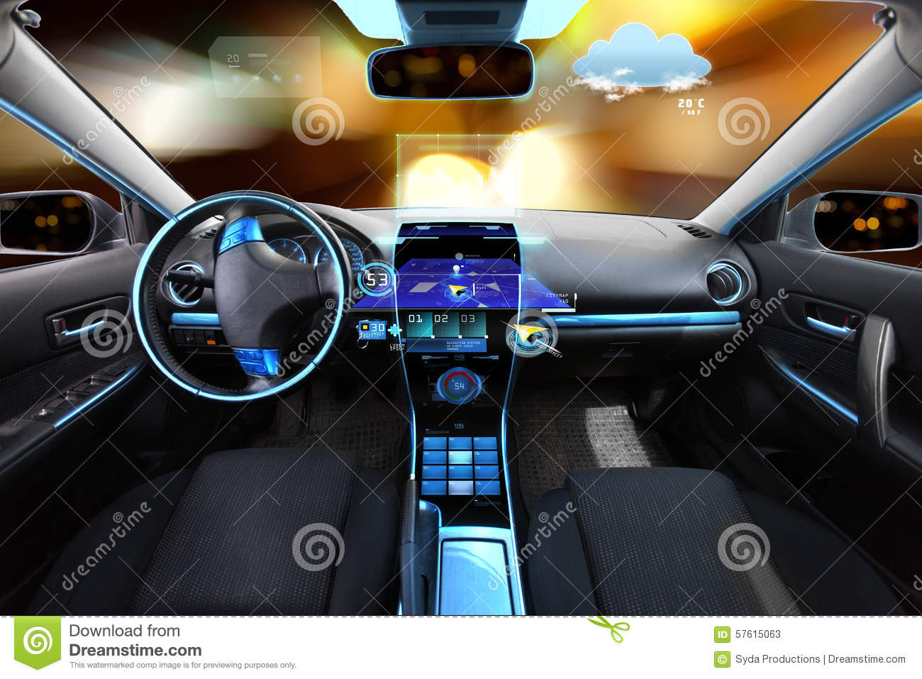 Car Salon With Navigation System And Meteo Sensors Stock