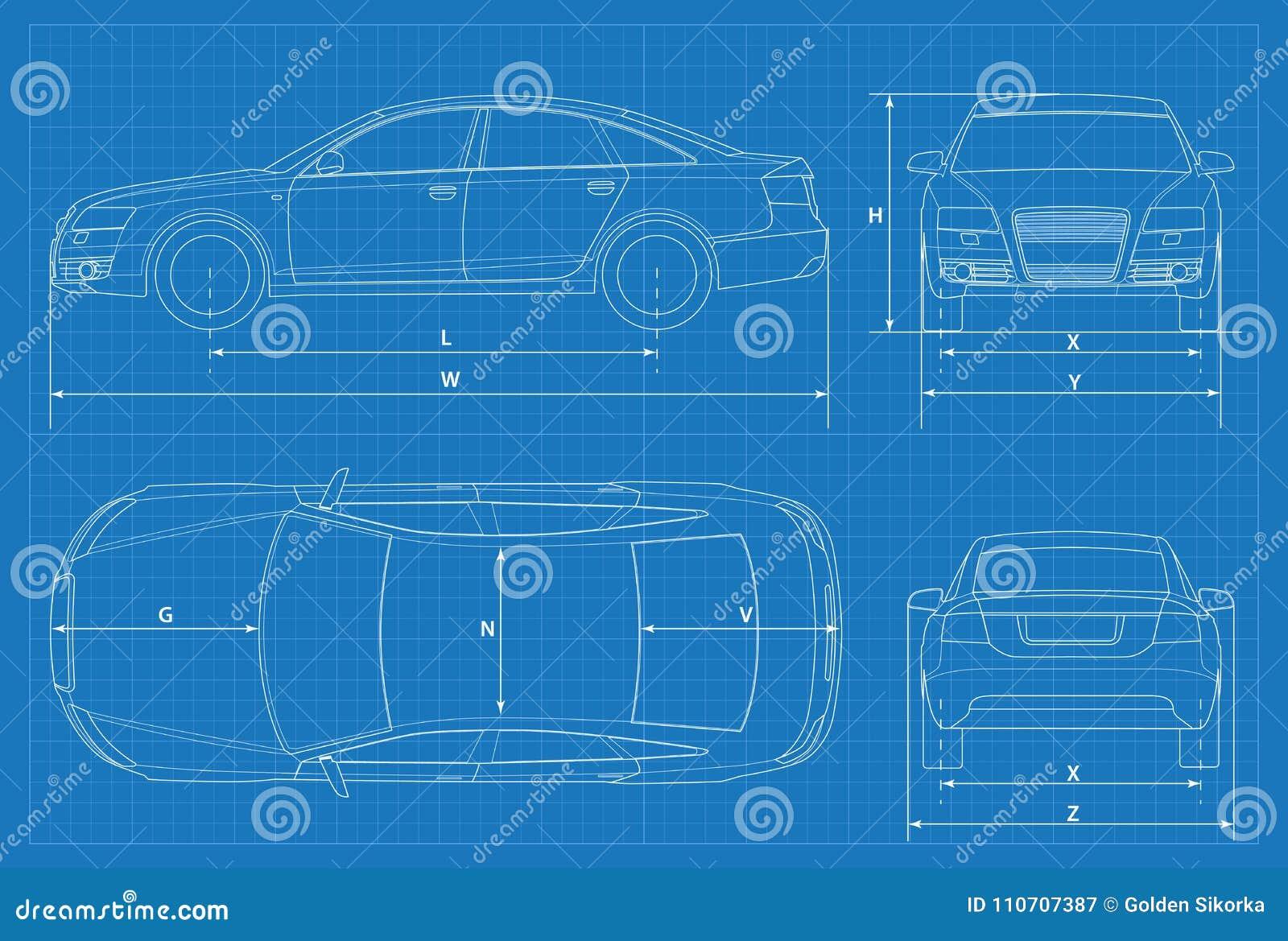 Car schematic or car blueprint vector illustration sedan car in download car schematic or car blueprint vector illustration sedan car in outline business malvernweather Gallery