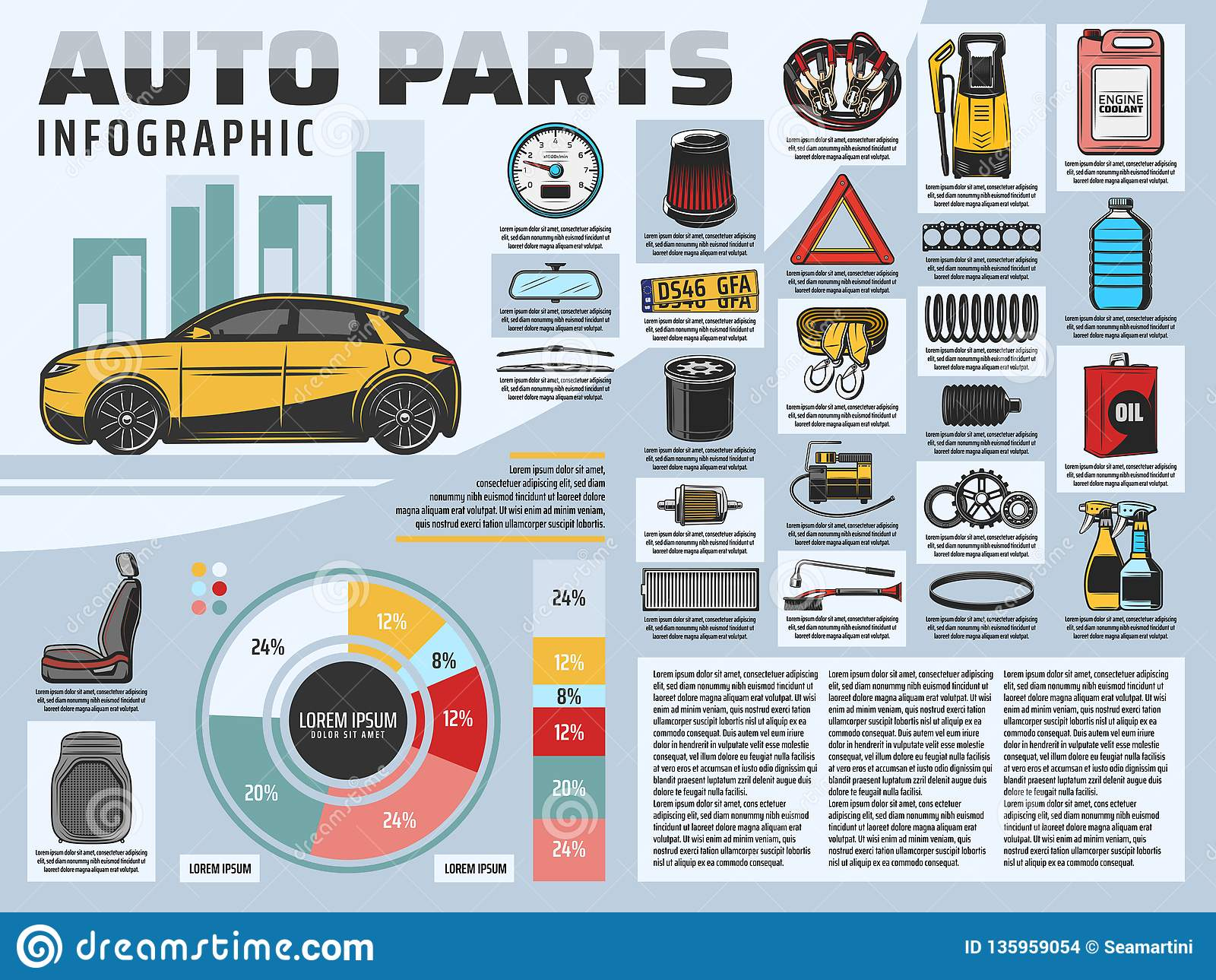 car repair service infographics with auto parts stock vectorvehicle motor oil, air filter and gears bar graph or chart, car seat, wiper blades and mirror, engine belt, spring and number plate vector diagram