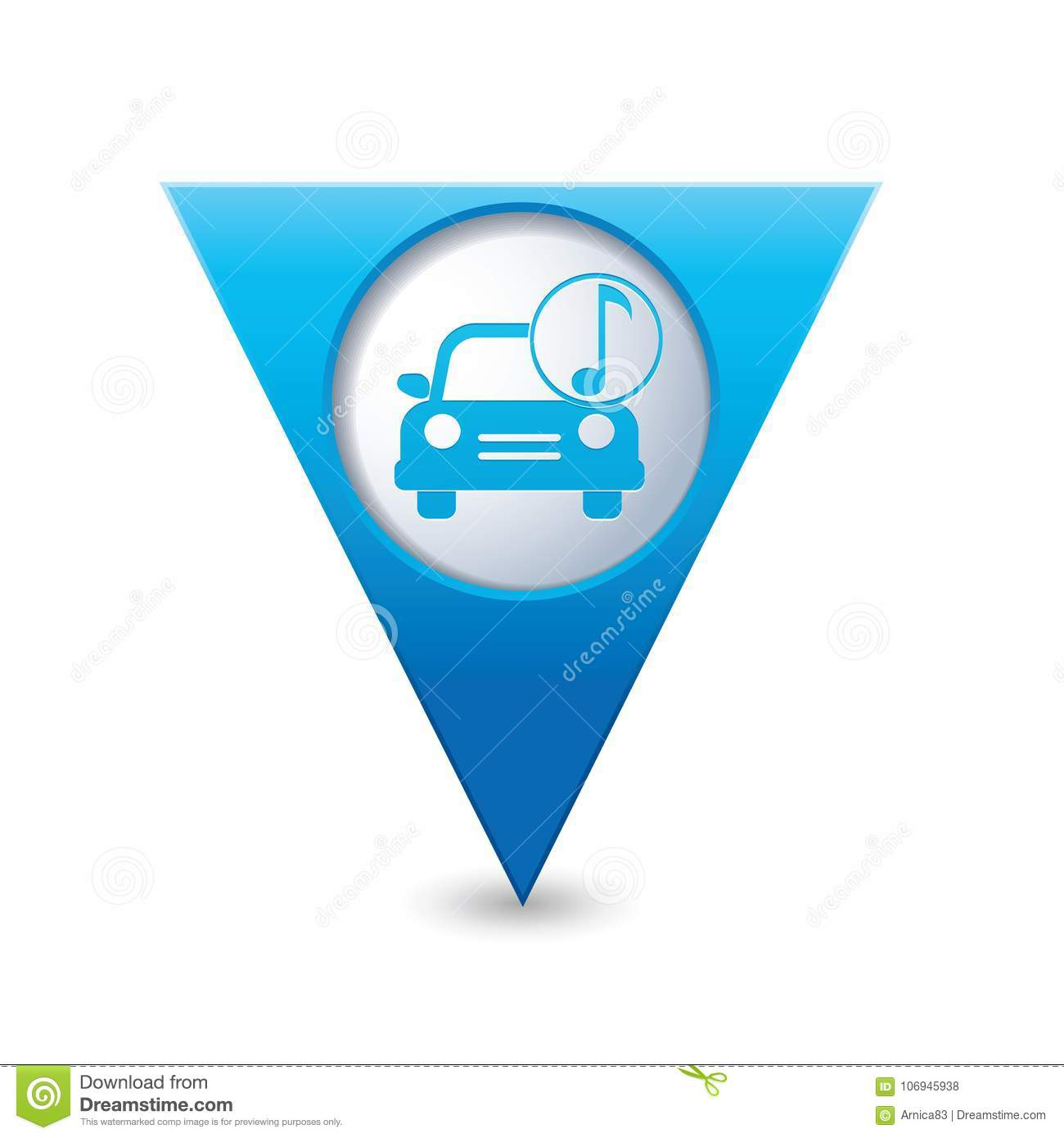 car service car with music icon on yellow map pointer stock vector