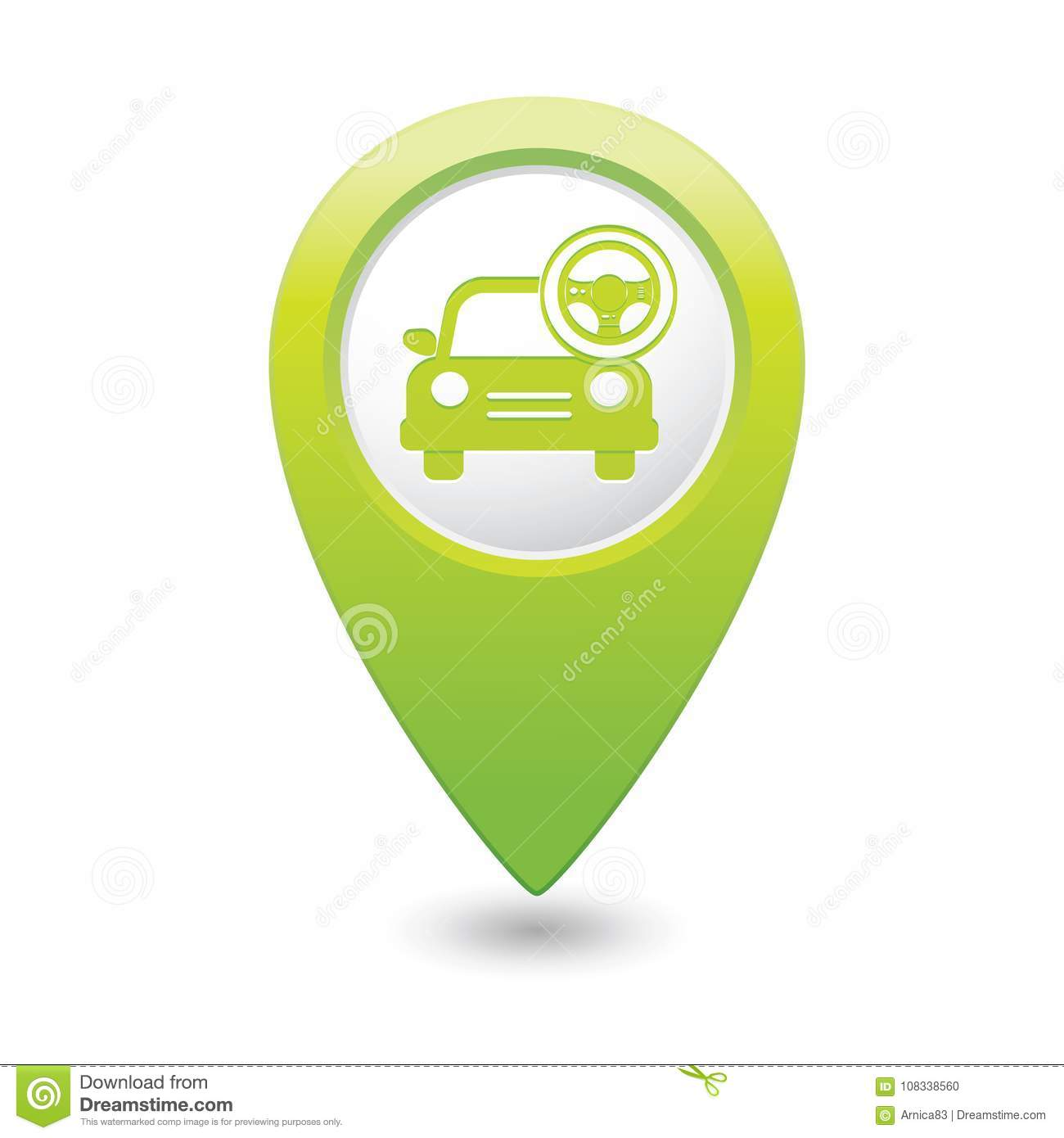 Car service. Car with steering wheel icon on map pointer