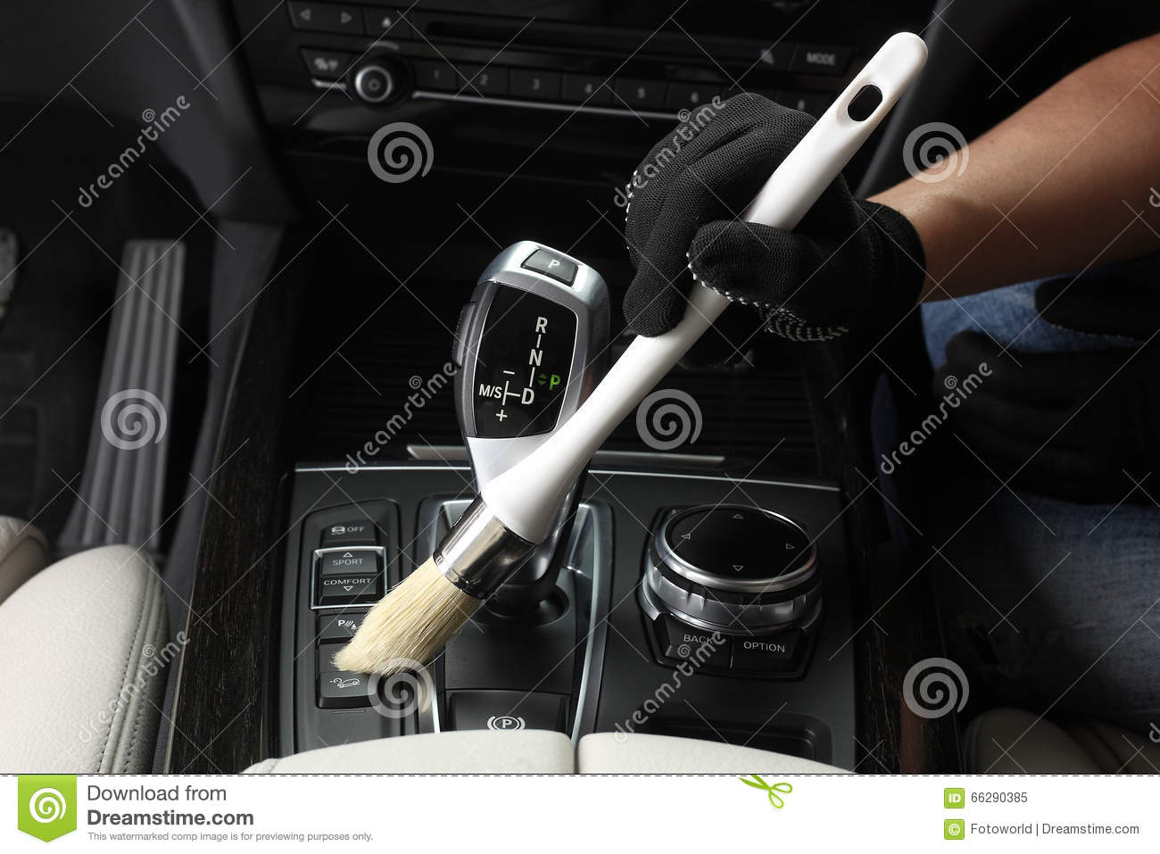 car service cleaning of interior by a brush 4 stock. Black Bedroom Furniture Sets. Home Design Ideas