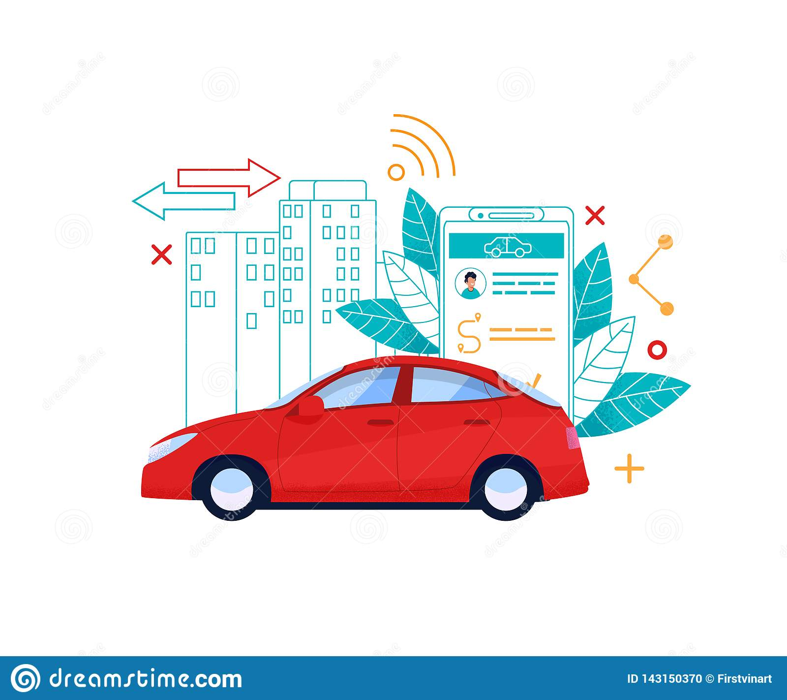 Car Service Flat Illustration  Cab Online Reserve Stock