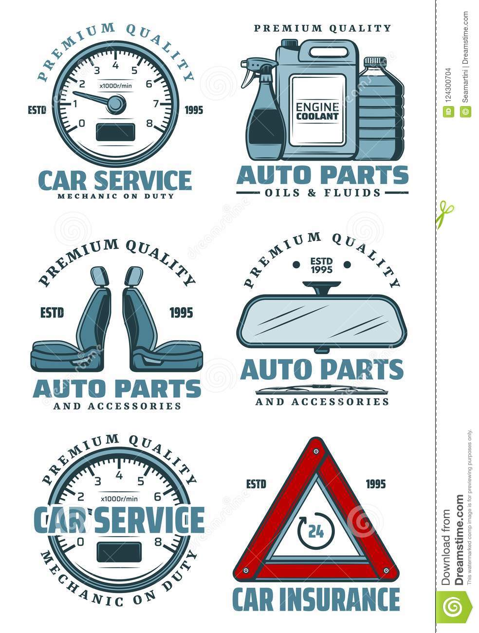 Car Service Station And Auto Parts Store Icons Stock Vector