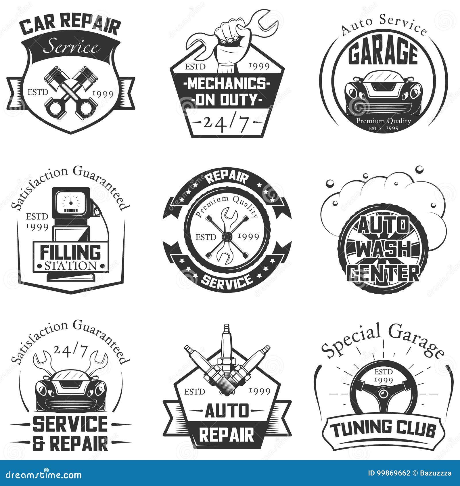 vector set of vintage car symbols and logos cartoon vector