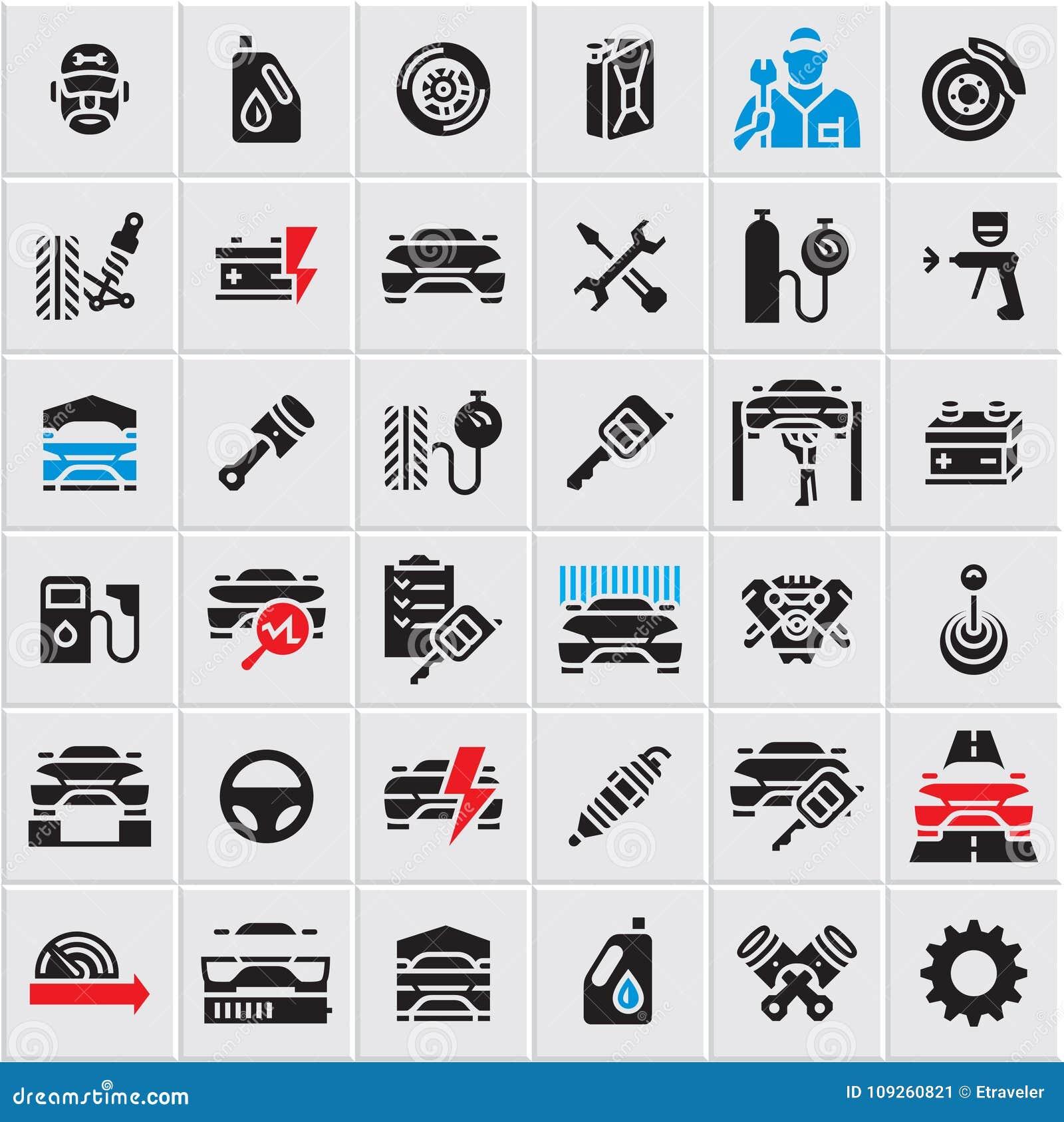 Car Service Maintenance Icons Set Car Vector Icons Auto Parts Car