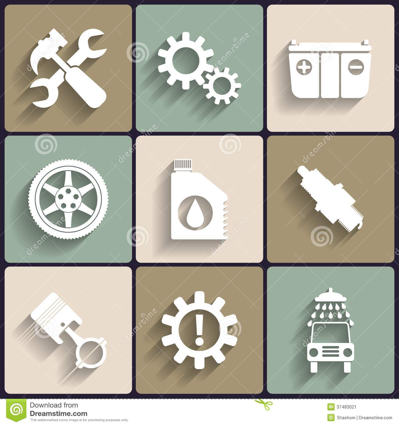 Car Service Maintenance Vector Flat Icon Set. Stock Vector - Image: 37483021