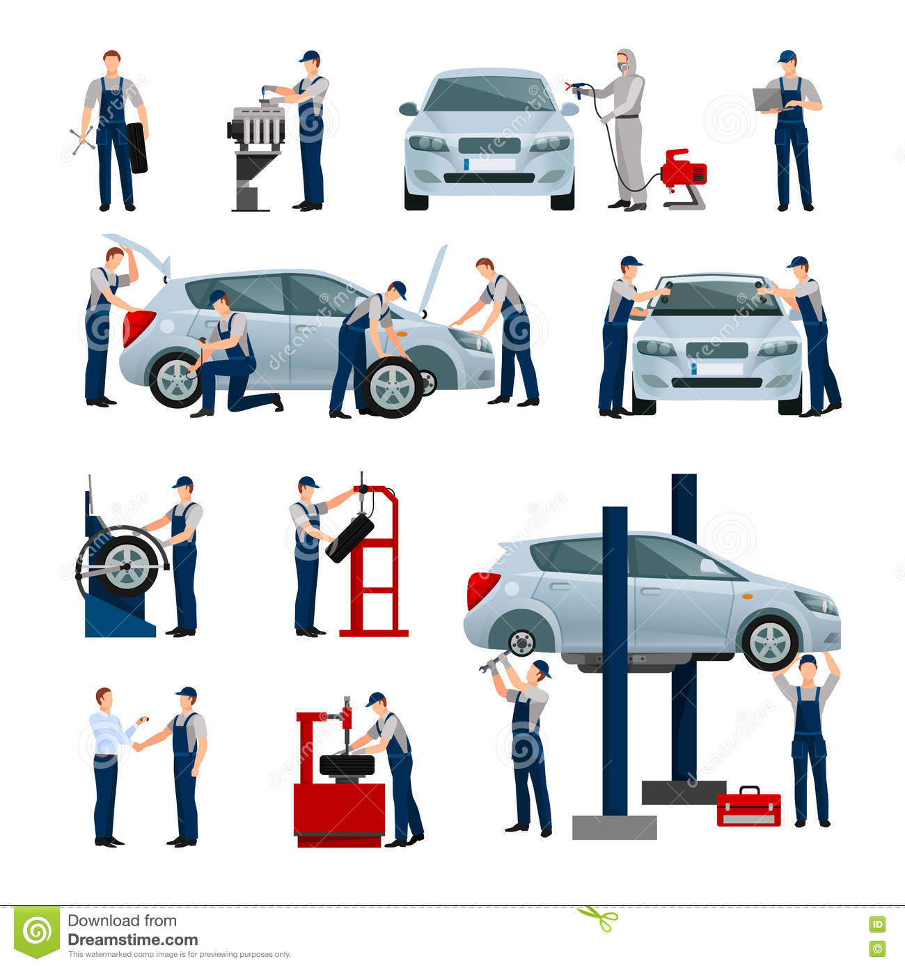Car Service People Icons Set Stock Vector Image 72398001