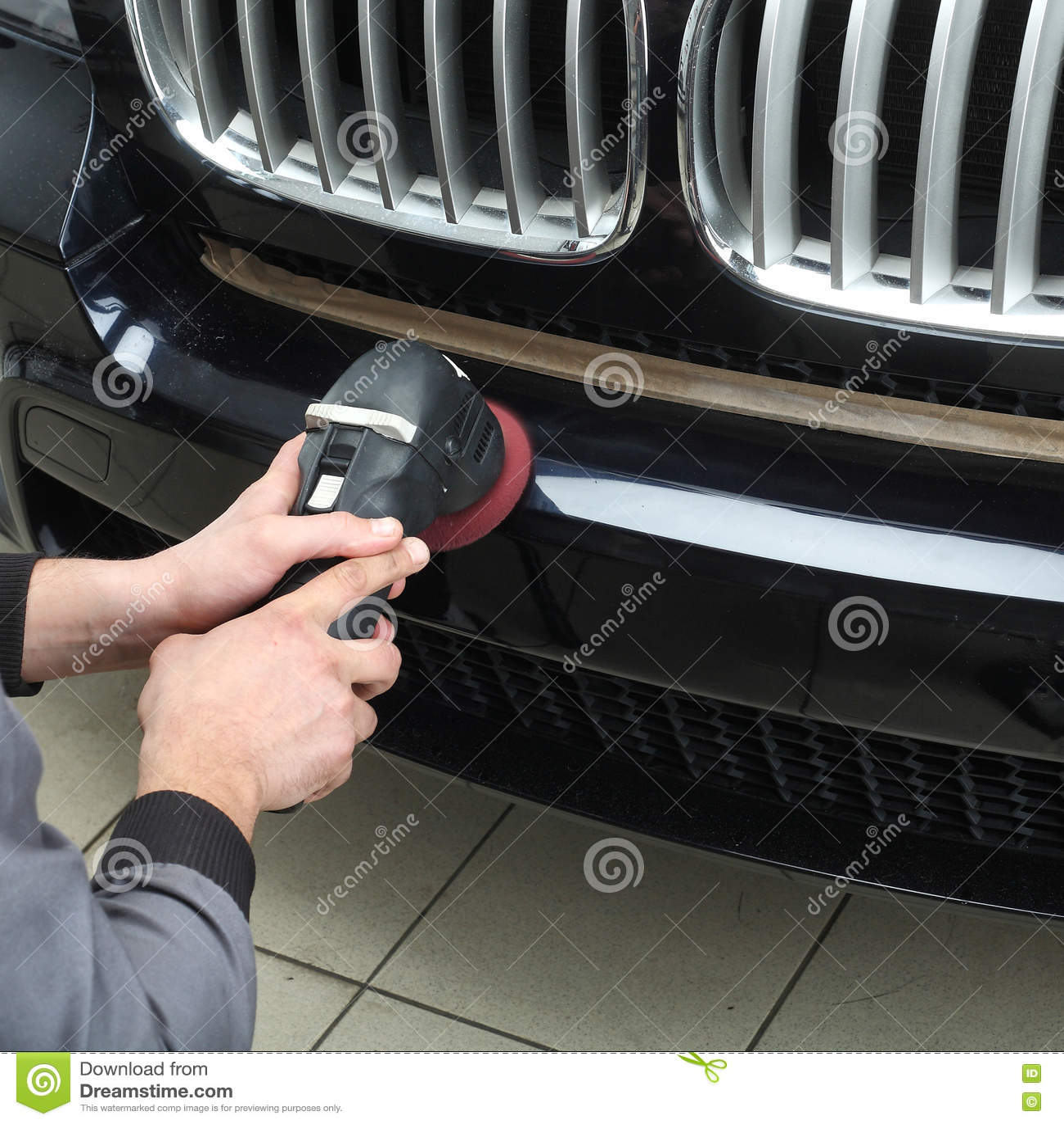 Car Service. Polishing Of The Bumper Car Stock Image ...