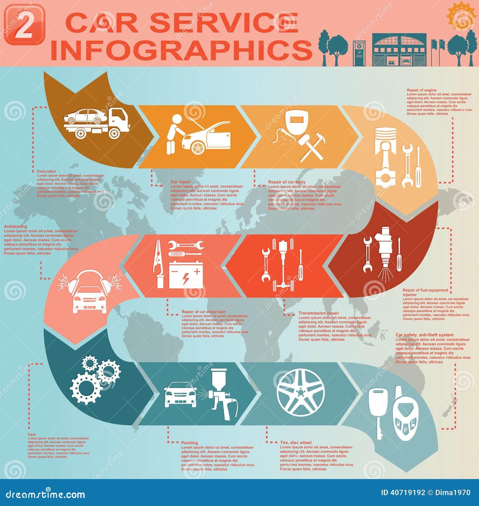 Car Service  Repair Infographics Stock Vector