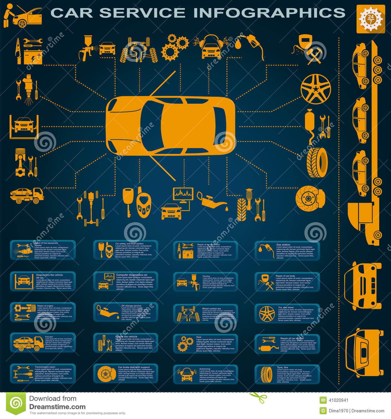 car service  repair infographics stock vector