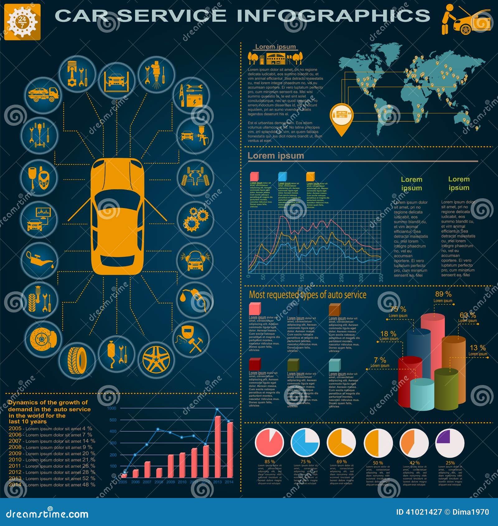 Car Service, Repair Infographics Stock Vector