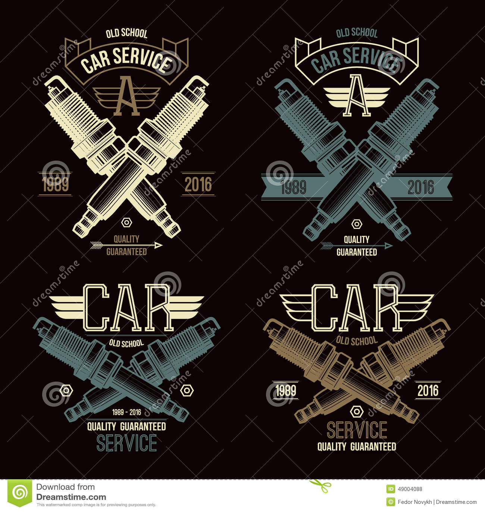 Design car emblem - Car Service Spark Plug Emblems Royalty Free Stock Photos