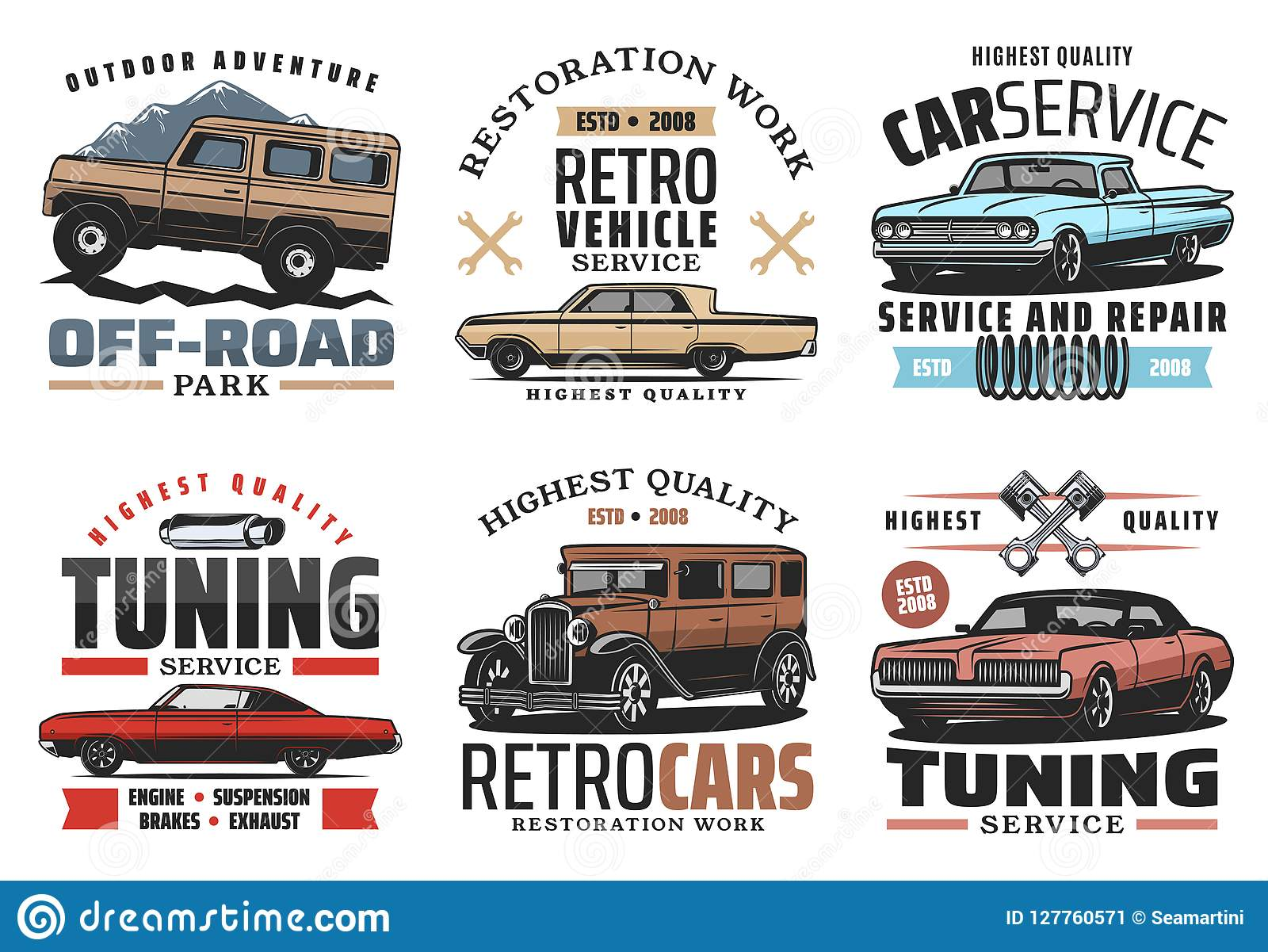 Remarkable Car Service And Tuning Icons With Retro Vehicles Stock Home Remodeling Inspirations Basidirectenergyitoicom