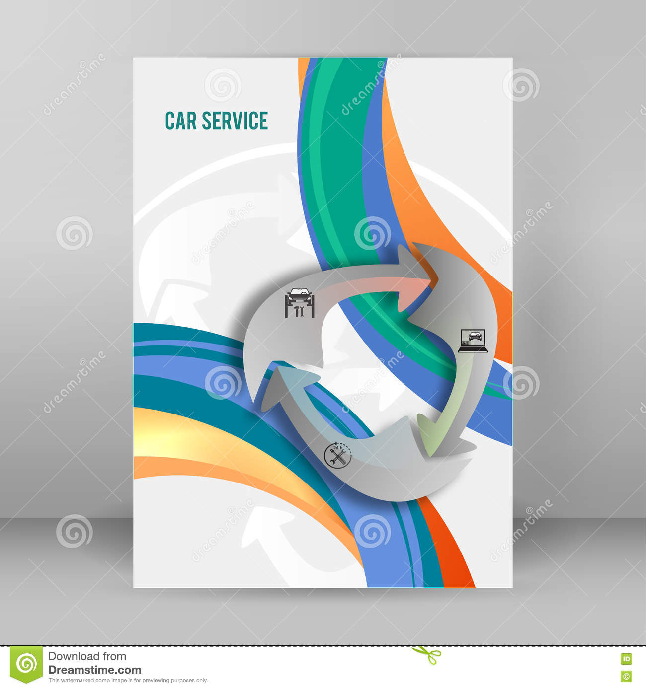 car services cover page booklet report format a4 arrow concept stock