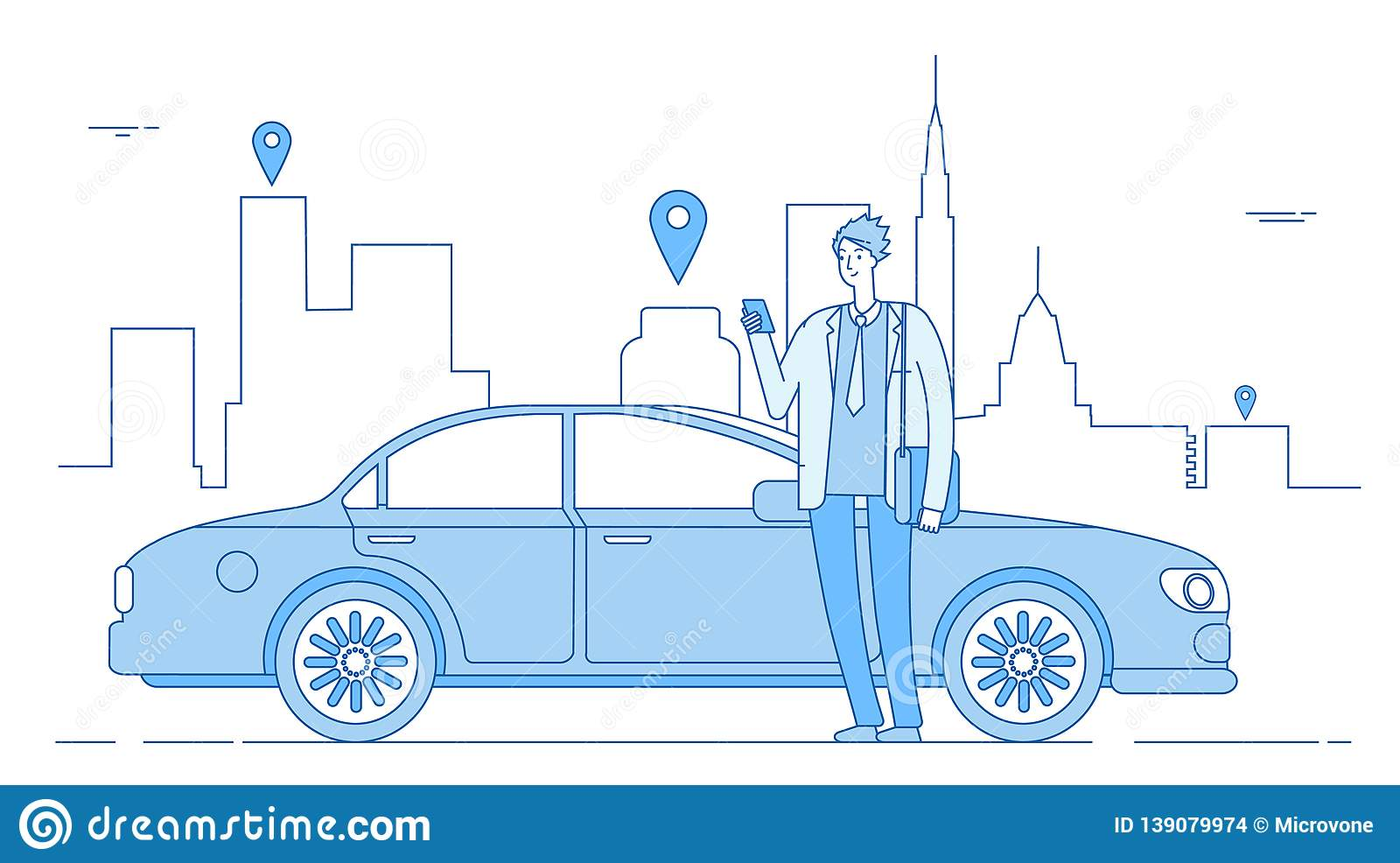Car sharing concept. Car rental application businessman with smartphone at car on city street. Parking service line