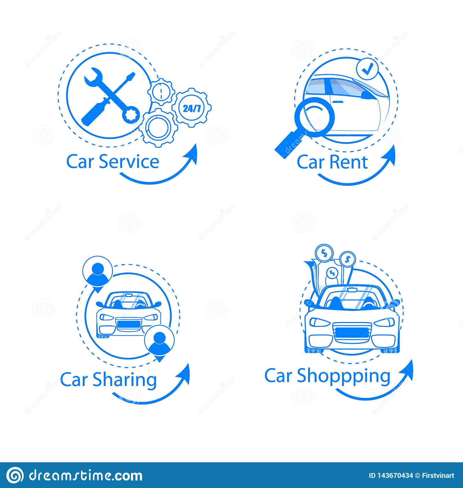 Car Sharing, Rent, Shopping, Service Flat Icon Set