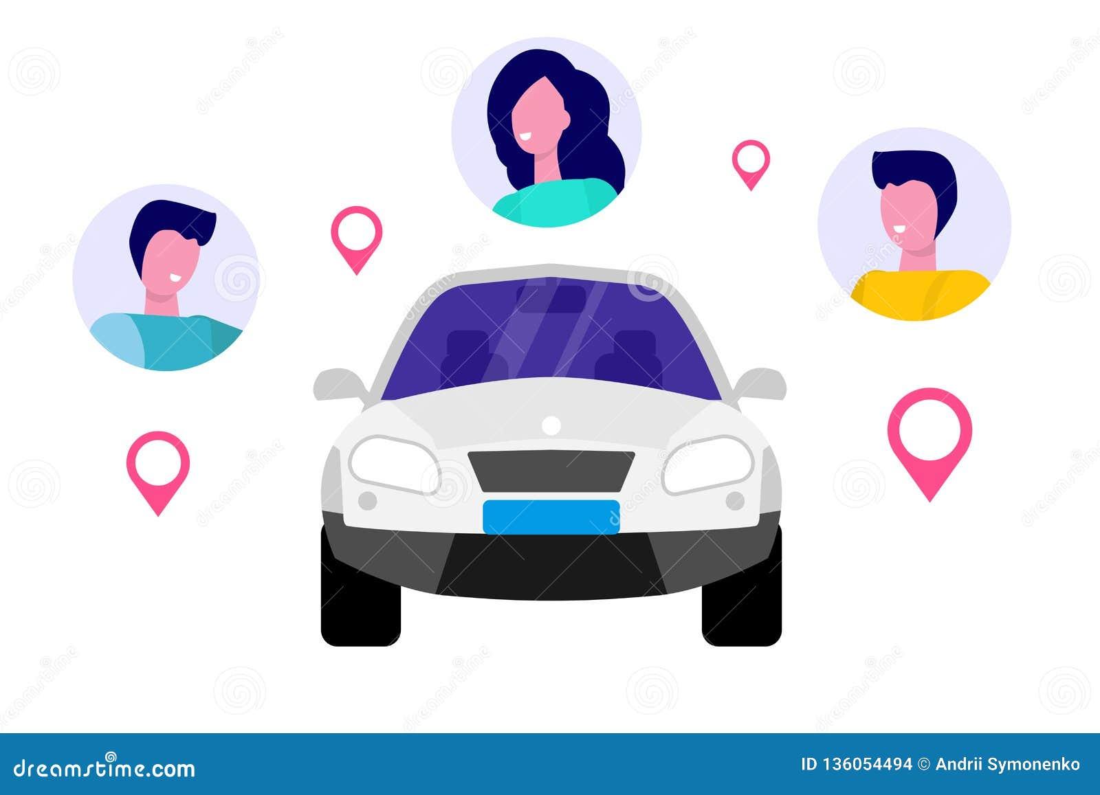 Car Sharing, Transport renting service concept.