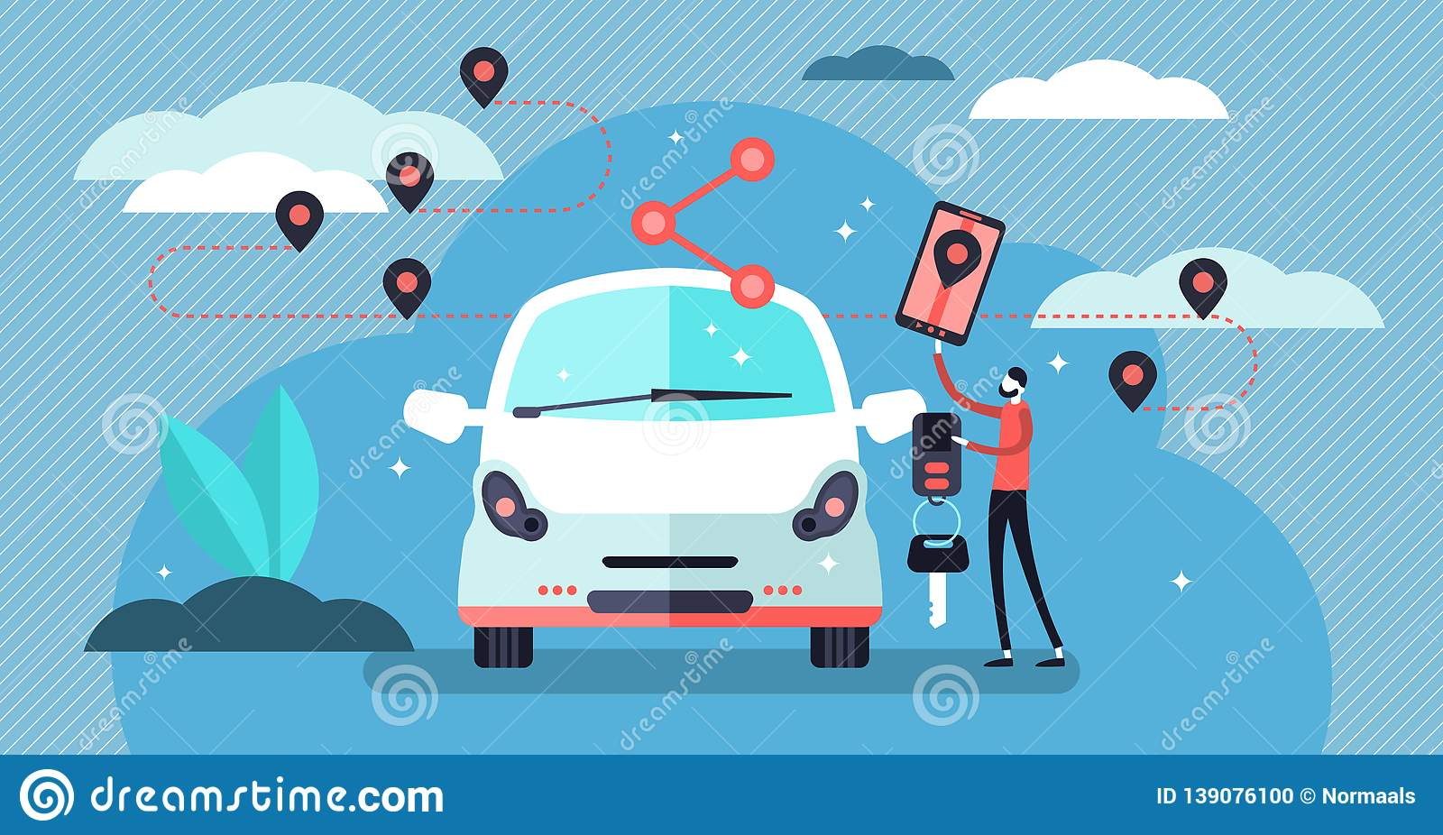 Car sharing vector illustration. Flat tiny persons concept with transport.
