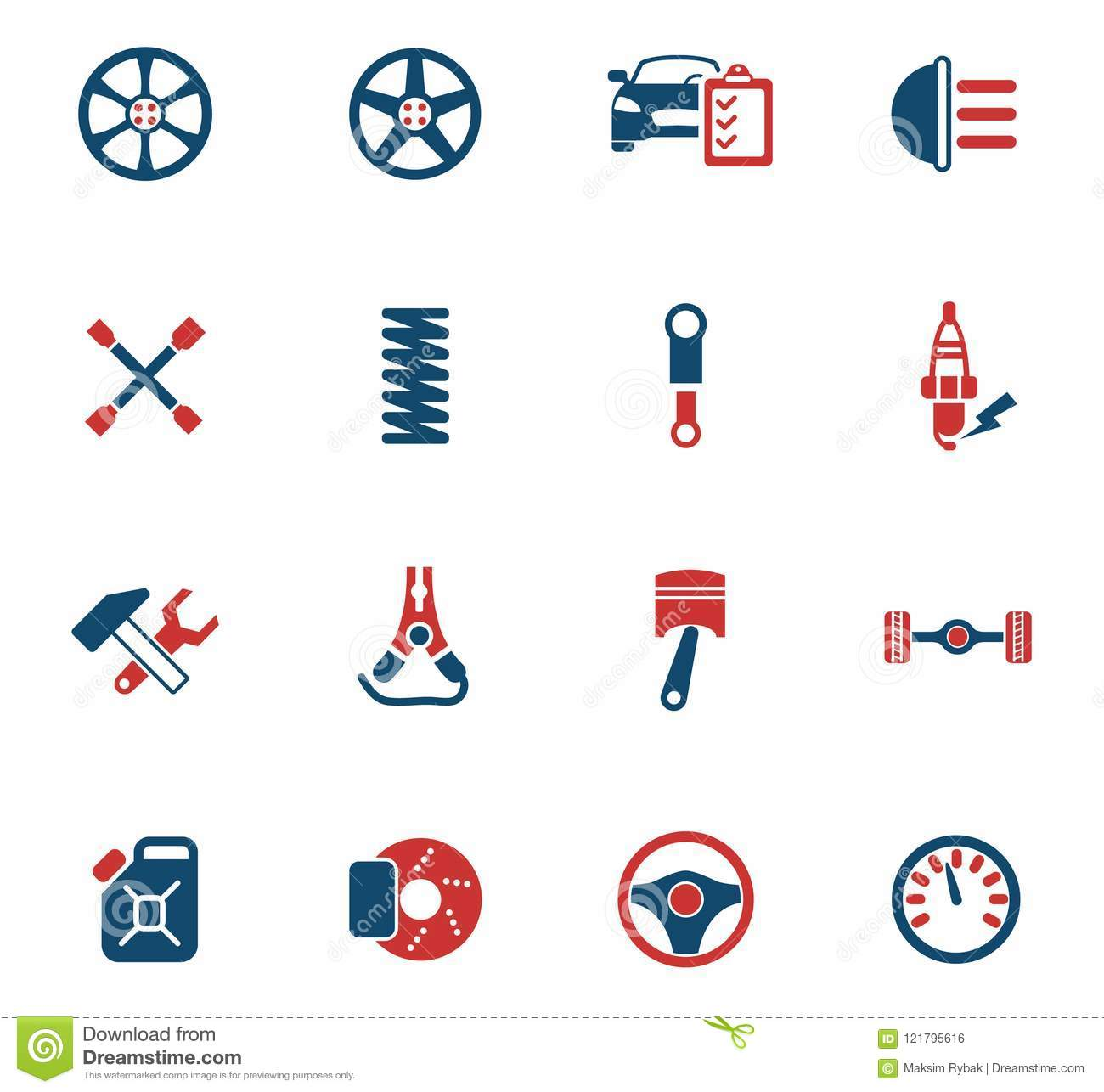 Car Shop Icon Set Stock Vector Illustration Of Spring 121795616