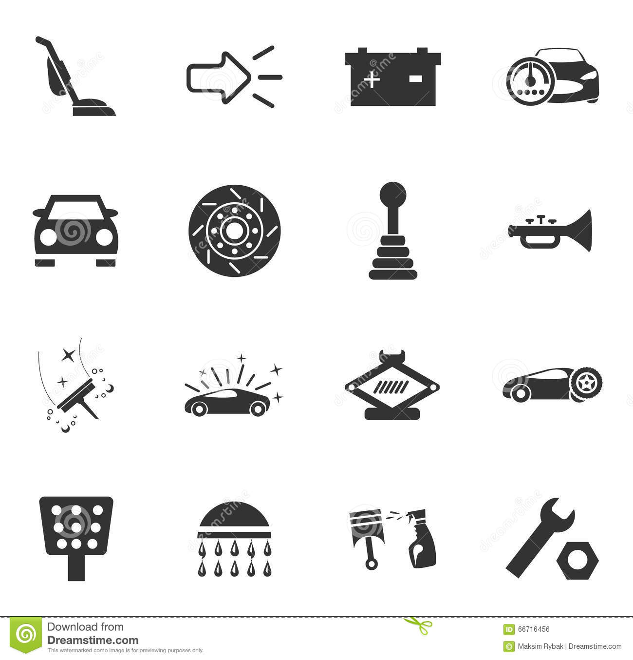 Car Shop Icons Set Stock Vector Illustration Of Tools 66716456