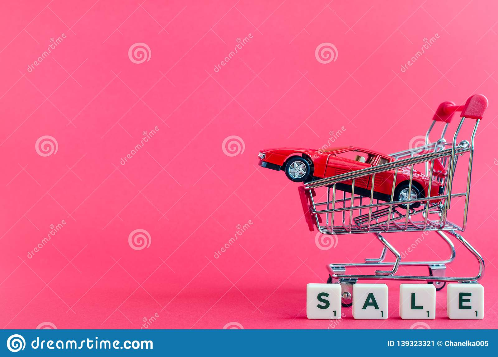 Car shopping, new car in a shopping cart