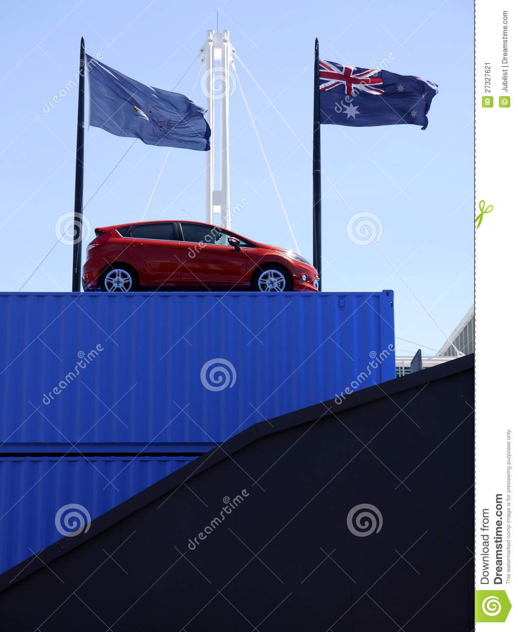 Car Show Vehicle On Shipping Container Stock Image Image Of Flags - Car show flags