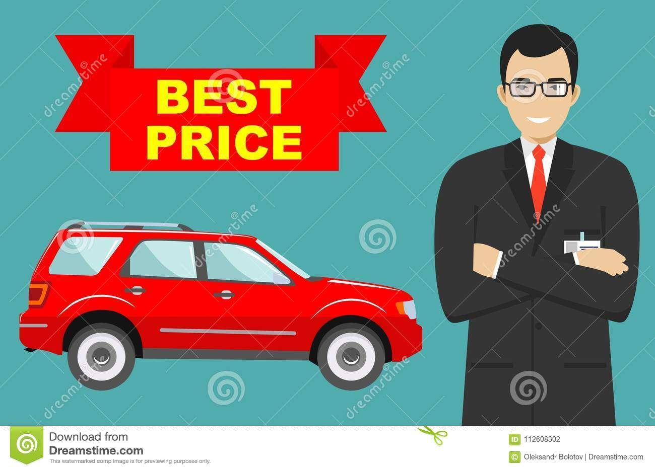 car showroom big sale smiling manager sells new business class automobile detailed illustration of businessman and