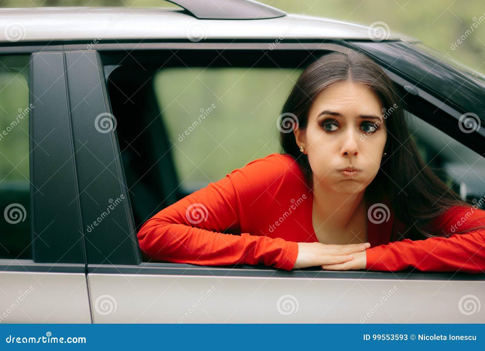car sick woman having motion sickness symptoms stock image image