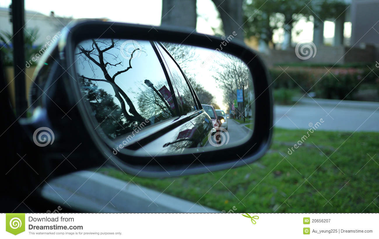 Car Side Mirror Reflection Royalty Free Stock Photography