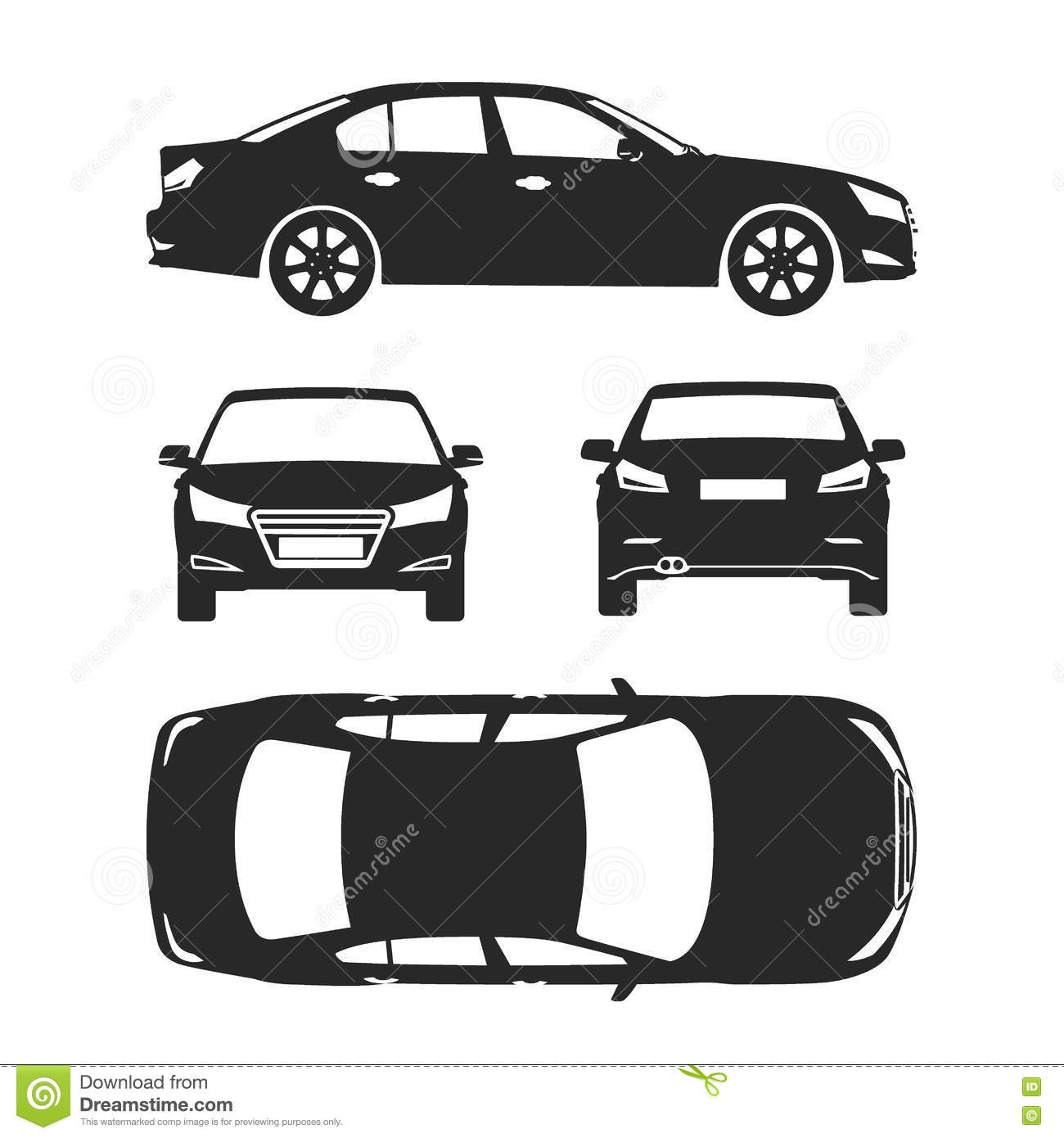 Car silhouette icons four all view top side back insurance rent car silhouette icons four all view top side back insurance rent damage condition report form blueprint malvernweather Gallery