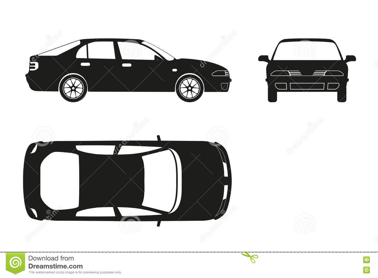 car silhouette on a white background three views front side stock vector illustration of. Black Bedroom Furniture Sets. Home Design Ideas