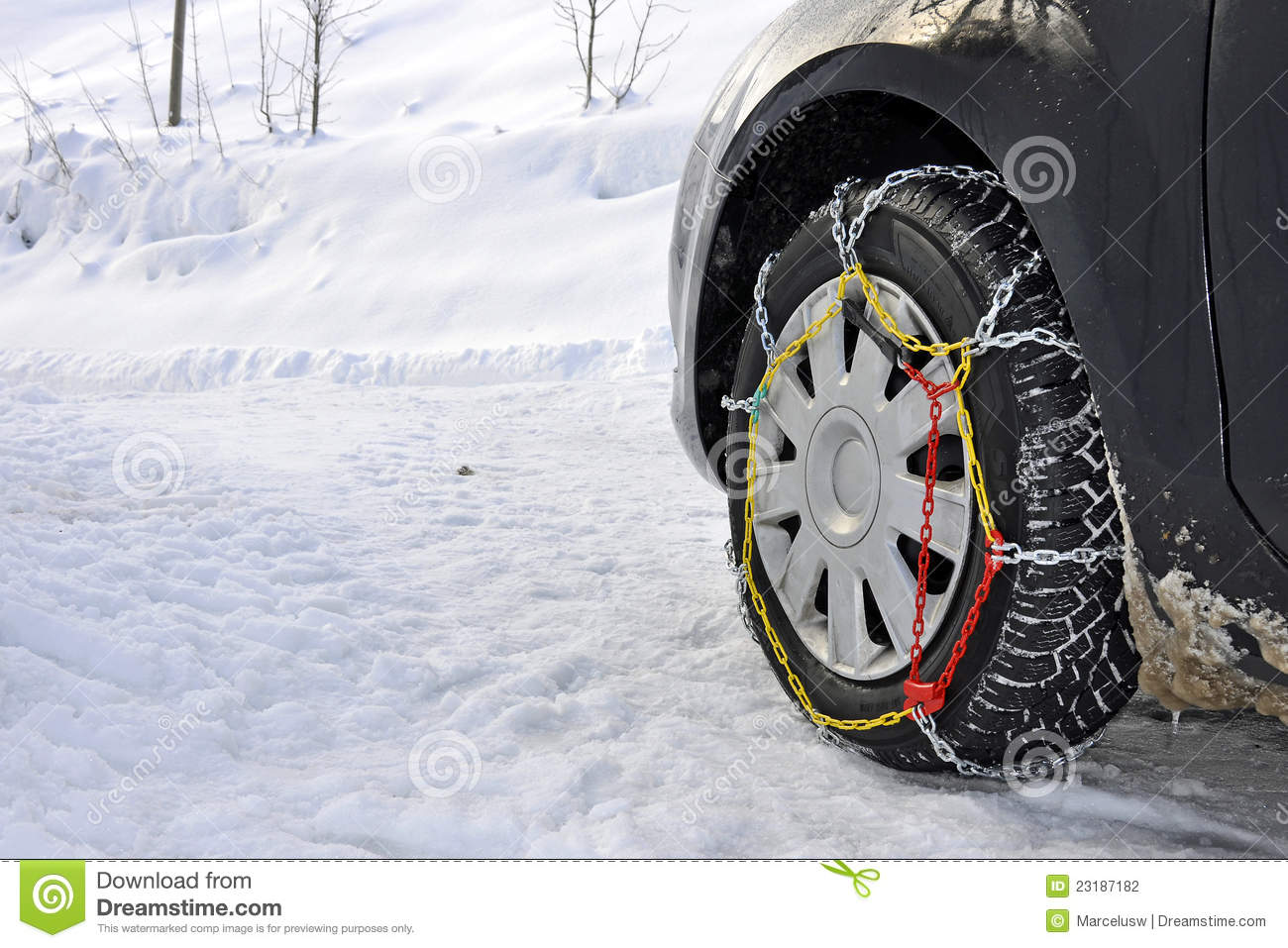 Car with snow chains stock photo. Image of tires, traffic ...