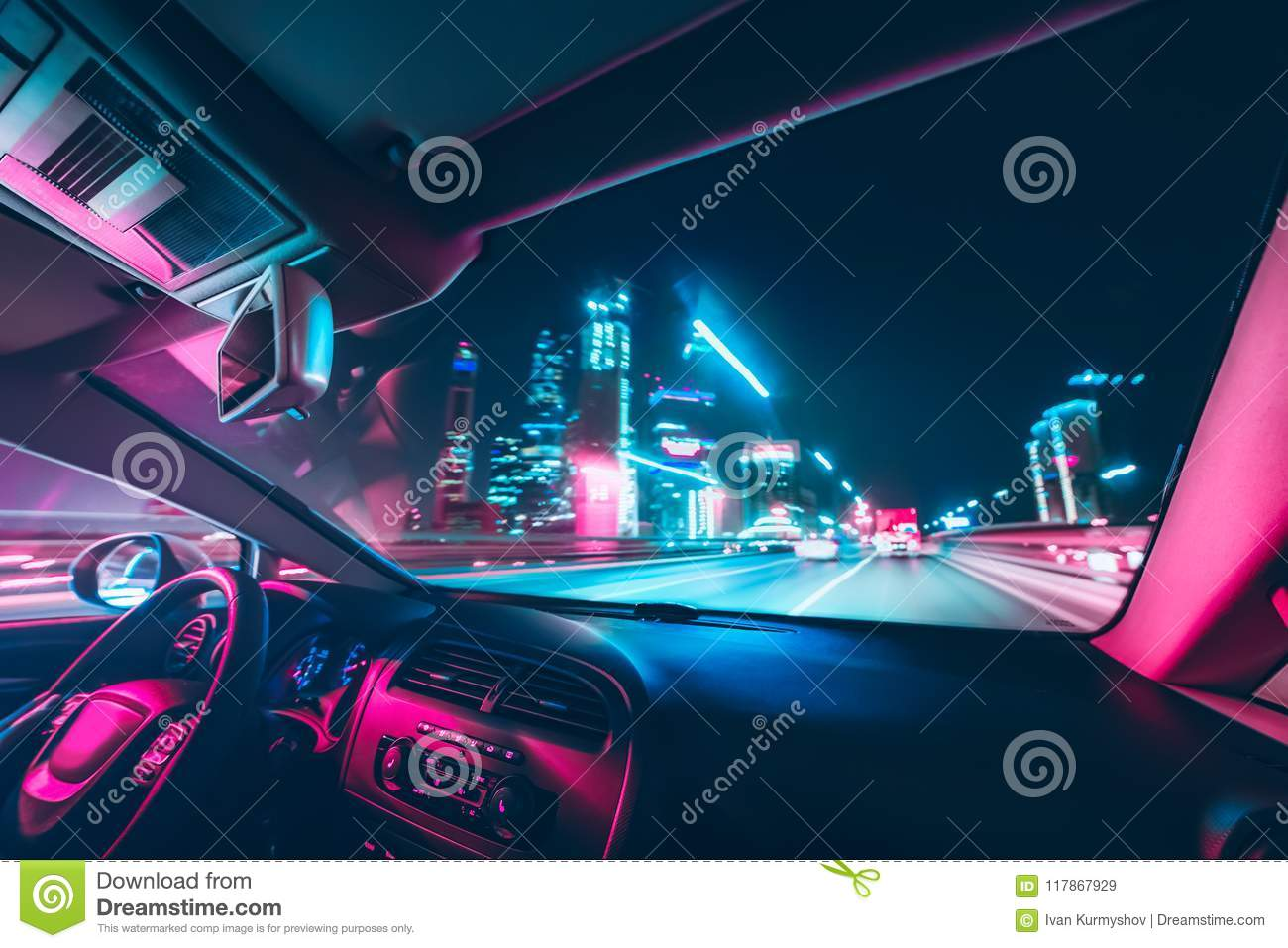 Car Speed Drive On The Road In Night Stock Image - Image of
