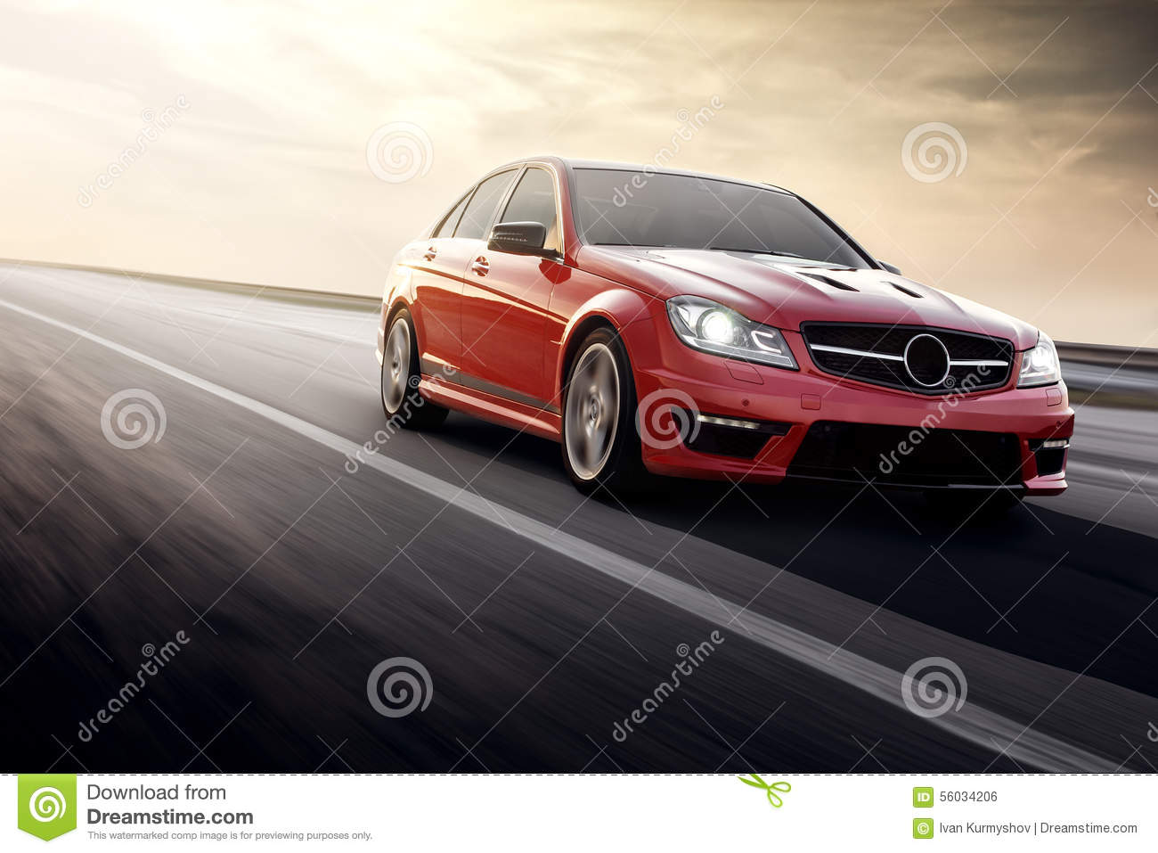 Fast drive red sport car speed on the road mercedes-benz