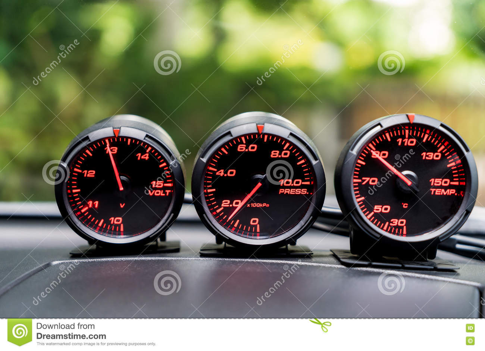 Car Sport Racing Gauge Meter On Car Console Stock Image Image Of