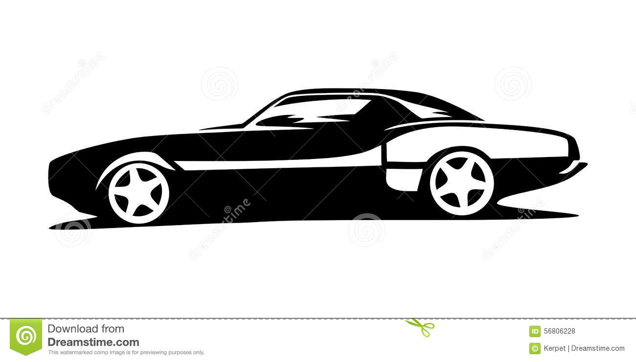 Sports car silhouette vector 18