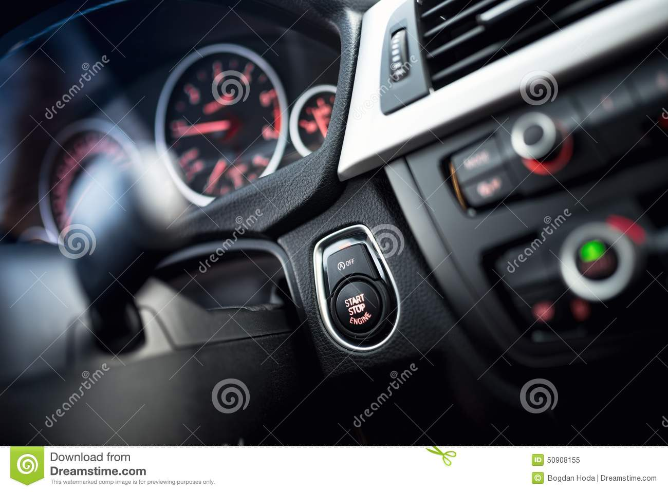 car start and stop button modern car interior with dashboard and cockpit details stock image. Black Bedroom Furniture Sets. Home Design Ideas