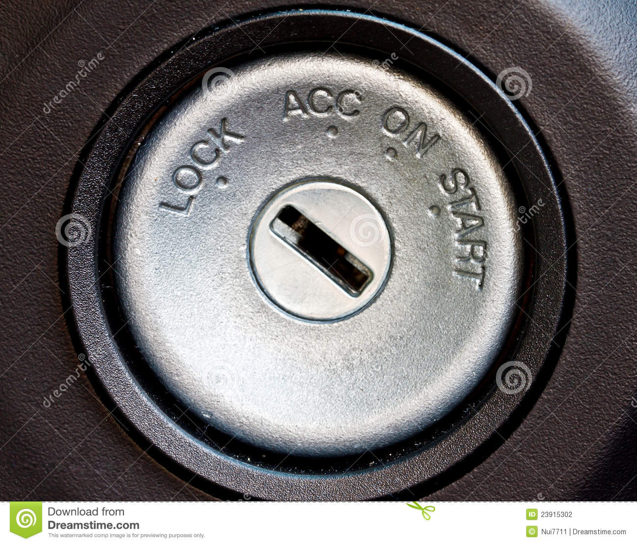 Car Starting Swtich Key Hole Stock Photo